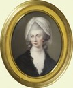 1782 Queen Charlotte enamel miniature done in 1804 by Henry Bone based on oval portrait by Gainsborough (Royal Collection) From pinterest.com:Birdmelissa:royal-portraits: