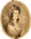 1783 Georgina, Duchess of Devonshire; bust portrait, facing three-quarter to right, looking towards the viewer, ribbon in hair after J Nixon (British Museum - London, UK) From the museum's Web site via pinterest.com-tamyamaunder-the-georgians