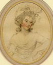 1784 Georgiana, Duchess of Devonshire; half-length head turning to right, looking right, large ribbon in her wig by John Downman (British Museum - London, UK) From museum's Web site