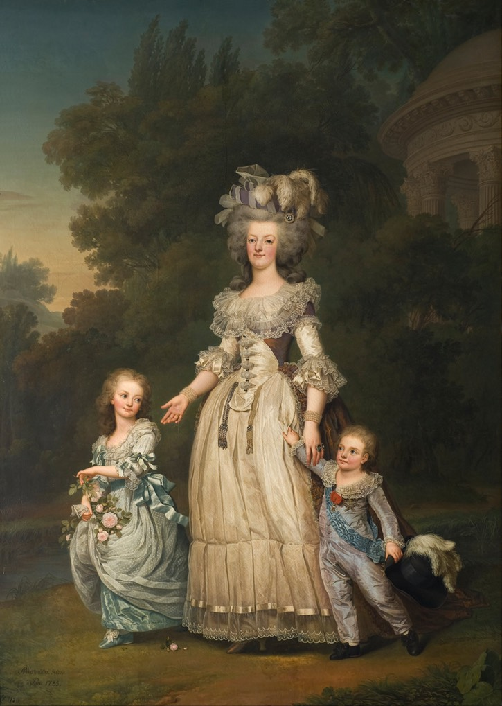1785-6 Marie Antoinette Walking in the park at Versailles with her Children, Louis Charles and Madame Royale by Adolf Ulrich Wertmüller (Nationalmuseum - Stockholm, Sweden) UPGRADE Wm