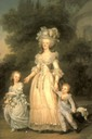 1785-6 Marie Antoinette Walking in the park at Versailles with her Children, Louis Charles and Madame Royale by Adolf Ulrich Wertmüller (Nationalmuseum - Stockholm, Sweden)