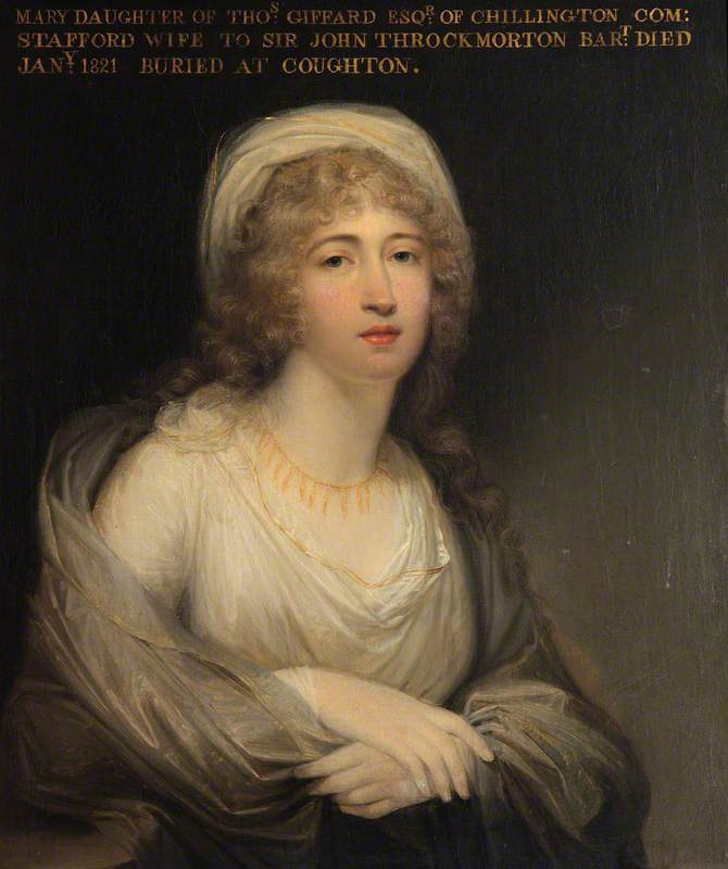 1790s Maria Catherine Giffard (1762–1821), Lady Throckmorton by ? (Coughton Court - Alcester, Warwickshire, UK) From artuk.org; fixed flaw on chin