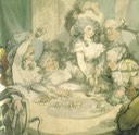 1791 Georgiana Cavendish, Duchess of Devonshire (seated, left) and her sister Viscountess Duncannon (later Countess of Bessborough) (standing) at the gaming table in Devonshire House by Thomas Rowlandson (private collection)