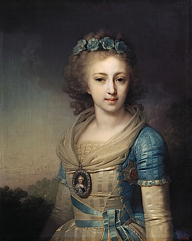 1795 Grand Duchess Elena Pavlovna of Russia, later Duchess of Mecklenburg-Schwerin by Vladimir Lukich Borovikovsky (location unknown to gogm)