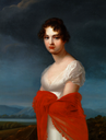 1808 Princess Ekaterina Vasilyevna Saltykova in a white dress and red shawl by Jean François Asselin (sold by Brunn Rasmussen)