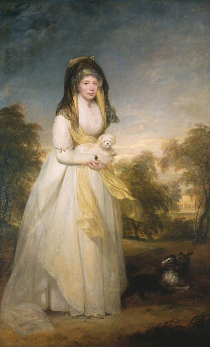1812 Queen Charlotte holding a dog by William Beechey (Courtauld Gallery - London, Greater London, UK) From georgianera.wordpress.com:2017:01:31:the-many-faces-of-george-iiis-wife-queen-charlotte: