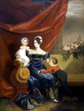 ca. 1820-1822 Alexandra Feodorovna (née Charlotte of Prussia) with her two eldest children, Alexander and Maria, by George Dawe (Royal Collection)