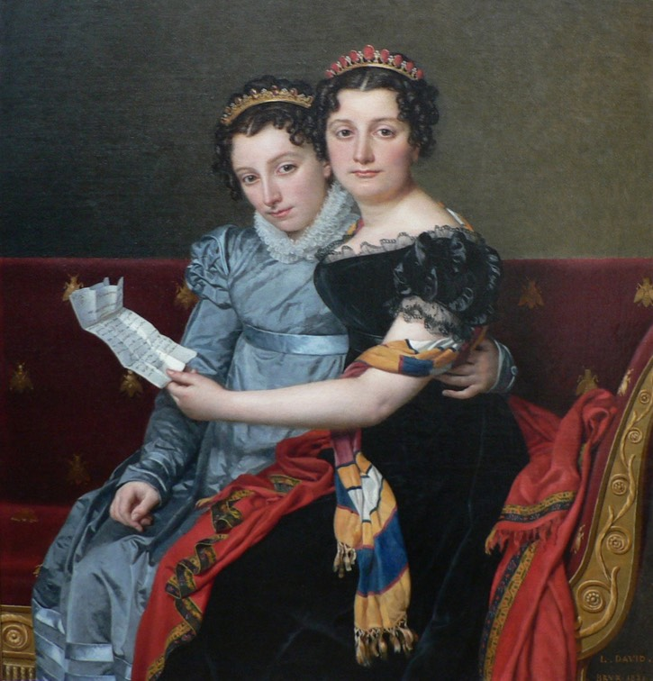 1821 Charlotte (l) and Zénaïde (r) Bonaparte by Jacques Louis David (Getty Museum, Los Angeles California) trimmed fixed upper part right edge