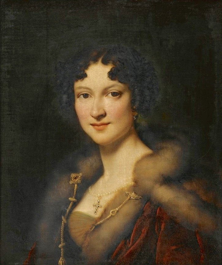 1821 Louise Henrietta Peterson (1796-1845), wife of Auguste, Baron du Bois de Ferrières bust-length, in a fur-trimmed red mantle and jewels by Alexandre-Jean-Dubois Drahonet (auctioned by Christie's) From liveinternet.ru:users:4843635:post347344065: