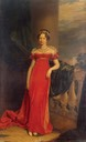 1822 Maria Pavlovna wearing a red Empire dress by George Dawe (Hermitage)