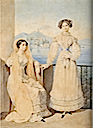1825 Countess Catherine Feodorovna Tiesenhausen and Daria F. Fikelmon by Alexander Brullov