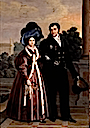 1830 Maria Cristina and Fernando VII walking in the gardens by Luise de Cruz y Rios (Museo de Bellas Artes de Asturias - Oviedo Spain)