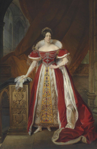 1831 Frances Anne Vane, Marchioness of Londonderry, in peeress's robes decorated with jewels and a tiara inside Westminster Abbey by Alexandre-Jean Dubois-Drahonet
