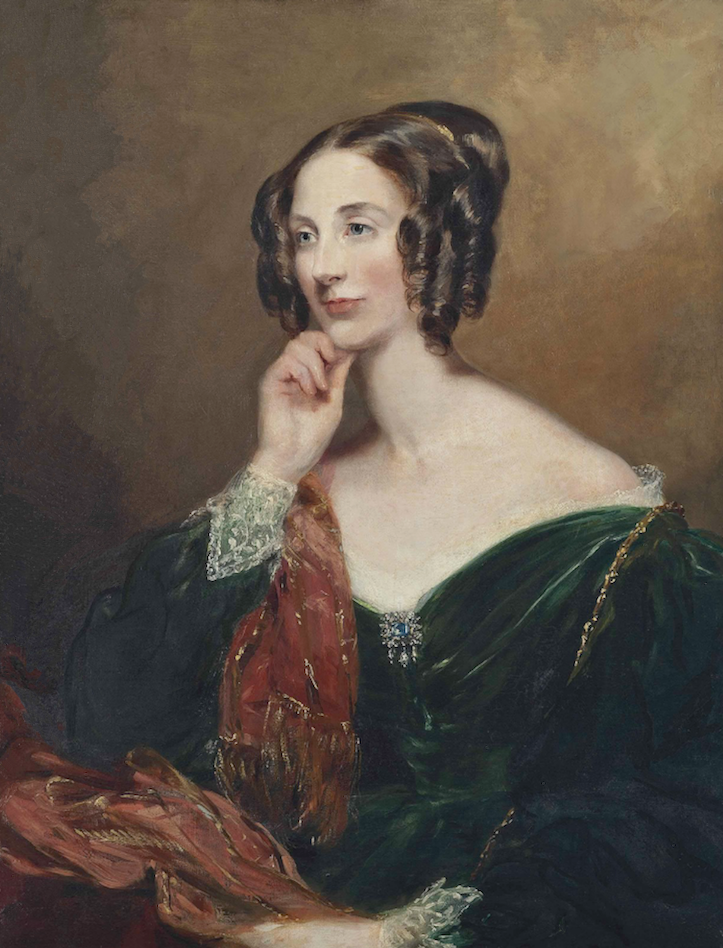 1834 Lady Charlotte Penelope Sturt (1802-1879), half-length, in a green dress with lace cuffs and a red and gold wrap by Margaret Sarah Carpenter (auctioned by Christie's) despot