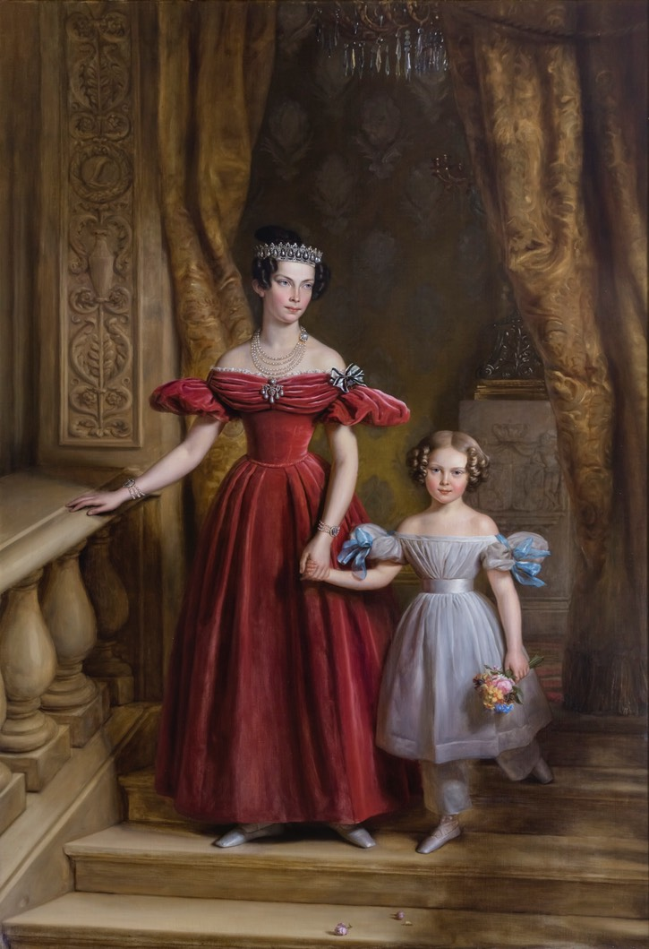 1836 Princess Louise of Prussia with her daughter Louise of the Netherlands, future Queen of Sweden and Norway by Jean-Baptiste Van der Hulst (location ?) From history-of-fashion.tumblr.com/page/9