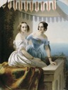 1838 Olga Nikolaevna and Maria Nikolayevna by Carl Timoleon von Neff (Timofey Neff) (location unknown to gogm)