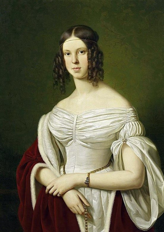 1839 Marie Felicitas Walpurga Huberta, Baronin von Fürstenberg-Herdringen zu Mussendorf by Franz Ittenbach (Schloss Wehrden - Beverungen, Nordrhein-Westfalen, Germany) From Pinterest search removed spots and navigation marks in corners