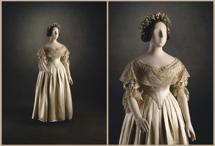 1840 Front of Queen Victoria's wedding dress From lookingbackatfashionhistory.tumblr.com