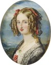 1840 Louise Marie Therese Charlotte Isabelle of France (1812-1850), daughter of Louis Philippe I of France and Maria Amalia of Naples and Sicily by Magdalena Dalton (Royal Collection) From pinterest.com/AlexyMet/ritratti-aristocratici-eleganti/.jpg