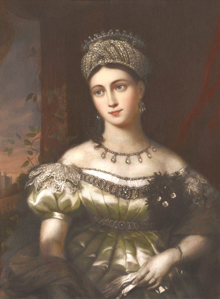 """1844"" Louise, Hereditary Duchess of Saxe-Gotha Altenburg by William Corden the Elder (location ?) From the lost gallery's photostream on flickr despot fixed l. lft corner increased exposure and filled in shadows"