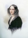 1845 Emilia Karlovna Musina-Pushkina wearing a dark dress by Vladimir Ivanovich Hau (location unknown to gogm)