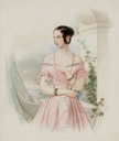 1846 (?) Grand Duchess Alexandra Nicolaievna in pink evening dress by Vladimir Ivanovich Hau (auctioned by Christie's) From liveinternet.ru:users:4237948:post296792759:
