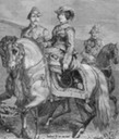 1848 Isabel II at a military review after portrait by Louis Charles Porion