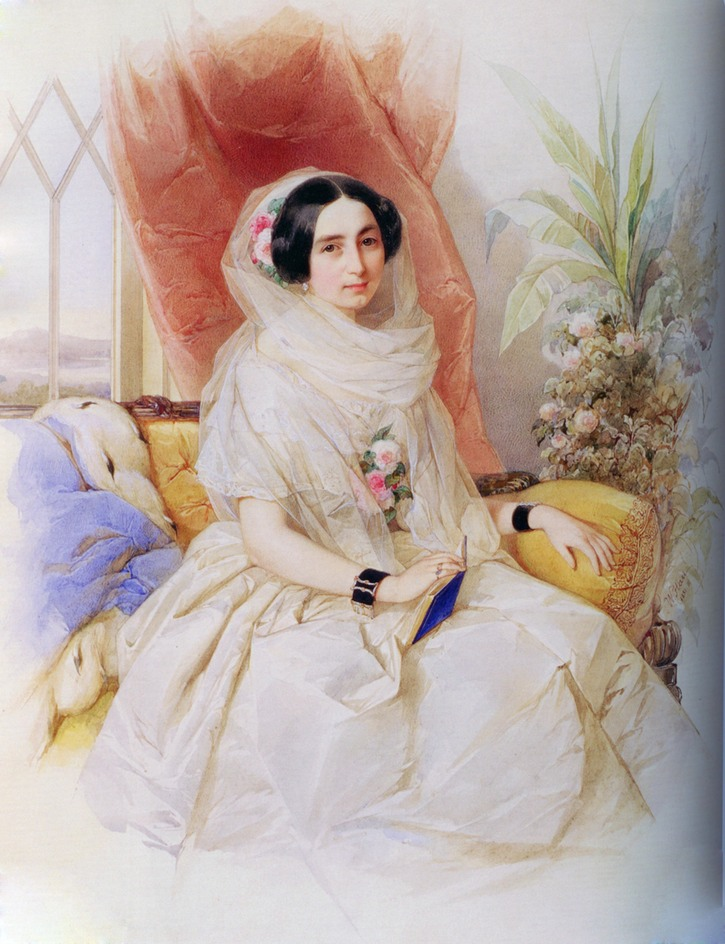 1851 Maria I. Goncharov seated in white dress by Vladimir Ivanovich Hau (New Jerusalem Museum - Moskva, Russia) Wm