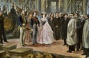 ca. 1860 Napoleon III and the Empress visit the works of the Opera de Paris by Ed. Gilis (Château de Compiègne)