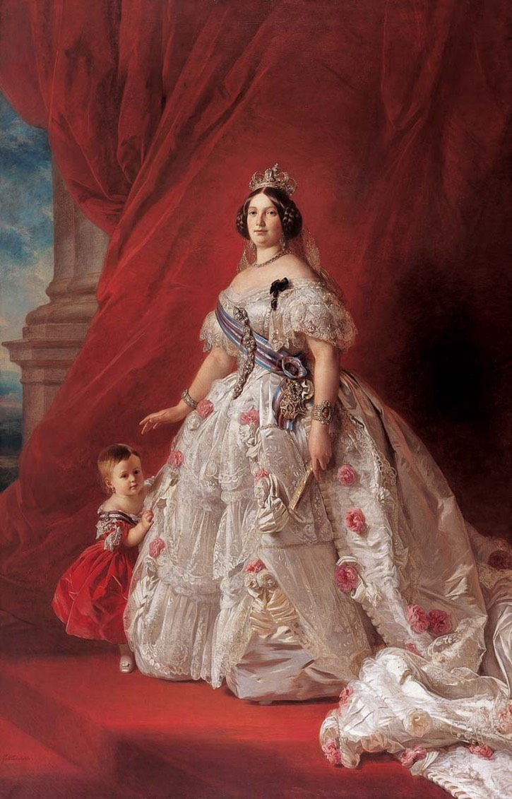 1852 Isabel II, Queen of Spain (1830-1904), with her daughter, Infanta Maria-Isabel of Spain (1851-1931), later Contessa di Girgenti by Franz Xaver Winterhalter (Colección Real - Madrid, Spain) UPGRADE