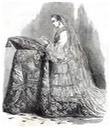 1853 Eugénie kneeling in her wedding dress From cairn.info/revue-napoleonica-la-revue-2011-2-page-183.htm
