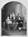 1854-1856 (probably) George V of Hanover, his wife Marie of Saxe-Altenburg and their children Ernest Augustus, Crown Prince of Hanover, Princess Frederica of Hanover and Princess Marie of Hanover by Julius Giere