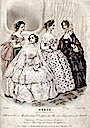 1854 Empress Elisabeth and party's dresses print
