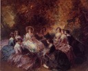 1855 sketch for Eugénie and her ladies by Franz Xaver Winterhalter (private collection)