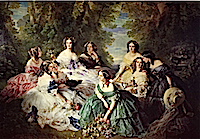 1855 Empress Eugénie Surrounded by Her Maids of Honor by Franz Winterhalter (Musée national du château de Compiègne, Compiègne)