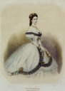 1856 Empress Elisabeth wearing a crinoline in color