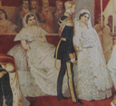 1857 Wedding of Charlotte of Belgium and Archduke Maximillian of Austria by ? (location unknown to gogm) - bride, groom, and bridesmaid