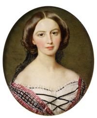 1857 Princess Feodora of Hohenlohe-Langenburg (1839-1872) by Sir William Ross (Royal Collection) From godsandfoolishgrandeur.blogspot.com-2014-03-princess-feodora-and-her-daughters-by.html resize 2