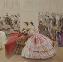 1859 Alexander II with his retinue in the Arsenal Hall of the-Gatchina Palace by Mihaly Zichy (Hermitage) ladies in crinolines