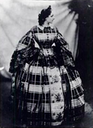 1859 Countess of Castiglione wearing a dome crinoline day dress - front view by André Alphonse Eugène Disdéri