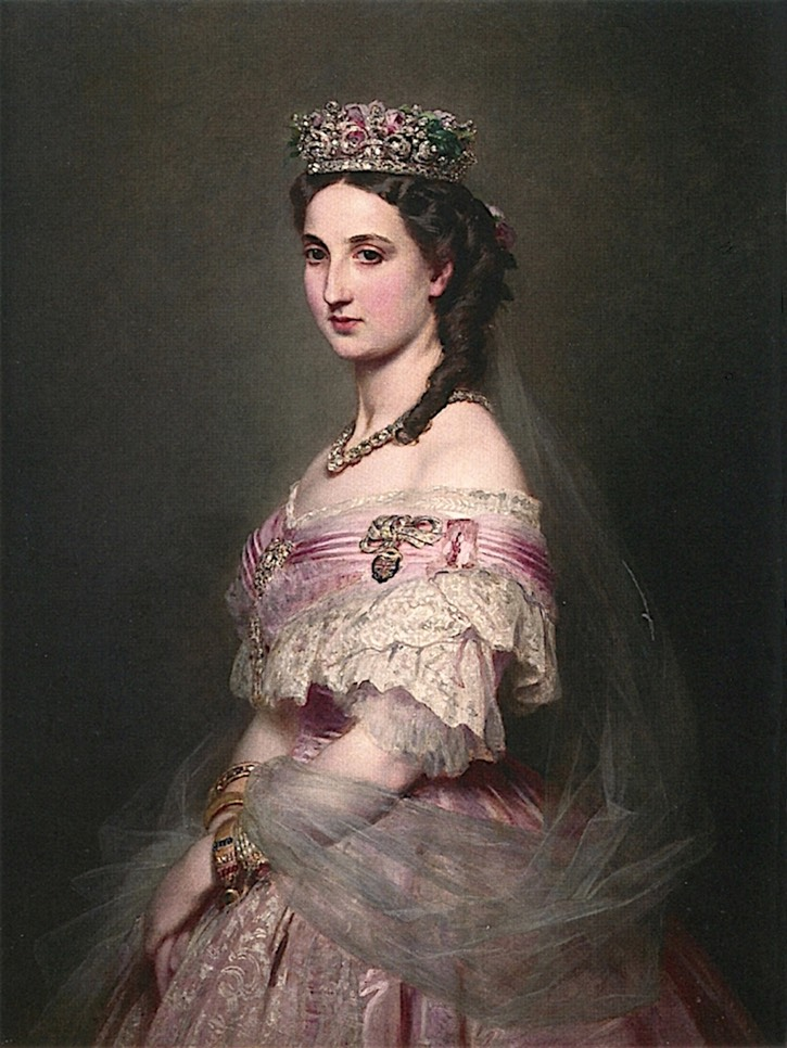 1864 Marie-Charlotte-Amélie, Empress of Mexico by Franz Xavier Winterhalter (Hearst Castle - San Simeon, California, USA) From the-athenaeum.org X 1.5 despot fixed right edge