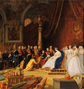 1864 Napoleon III, Empress Eugenie, and retinue from La reception des ambassadeurs du Siam a Fontainebleau by Jean Leon Gerome (Chateau de Fontainebleau)