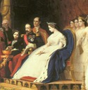 1864 Napoleon III and Empress Eugenie from La reception des ambassadeurs du Siam a Fontainebleau by Jean Léon Gerome (Musee national du chateau de Fontainebleau)