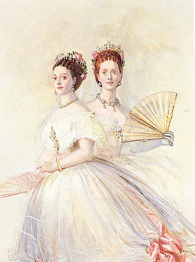 1868 Czarina Maria Feodorovna and her sister Alexandra, Princess of Wales by Franz Xaver Winterhalter (auctioned by Christie's) RJWMB 28Feb12