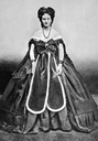 1870s (?) Countess Castiglione wearing dress with two skirt panels by Pierre Louis Pierson