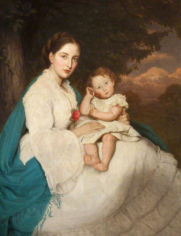 1871 Caroline Philips (1846-1928), Lady Trevelyam with son Charles by James Archer (Wallington Hall - Wallington, Northumberland, UK)