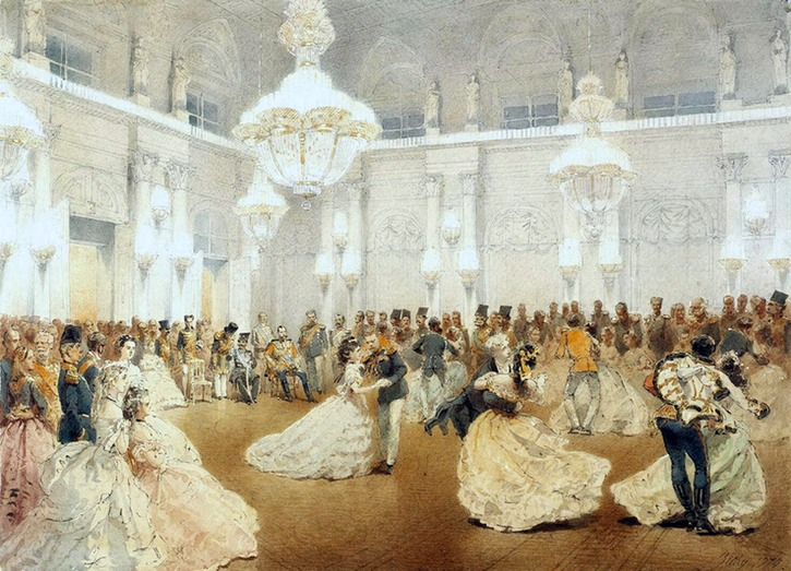 1873 (May) Ball in the Concert Hall of the Winter Palace during the official visit of the Shah Nasir al-Din by Mihaly Zichy (State Hermitage Museum - St. Petersburg Russia) From en.gallerix.ru:album:Hermitage-5