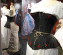 1875 Corset cuirasse in black satin with 34 bones worn over a day chemise with a crayfish tail (Musée municipal de Vire - Vire, Basse-Normandie France)