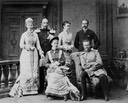 1878 or 1879 (l. to r.) - Princess Marie and husband Netherlands Prince Hendrik, Princess Luise Margaret and Prince Arthur, seated - Princess Elisabeth and Prince Friedrich August, of Oldenburg From pinterest.com:aalwhite0402:anhalt: X 1.5 deflaw