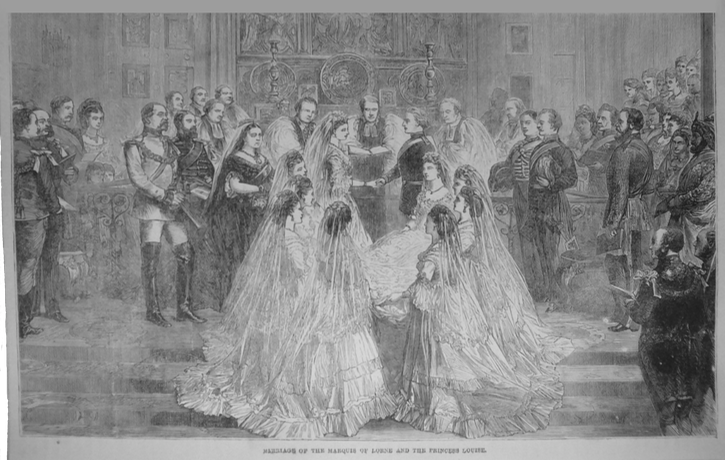1879 magazine engraving ~ Marriage of Princess Louise and Marquis of Lorne EB detint